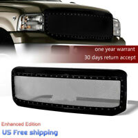 For Ford F250 F350 2005-07 Super Duty Gloss Steel Mesh Rivet Grille & Shell Pro