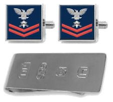 Libra esterlina Gemelos Dinero Clip EE. UU. Navy Rojo E-5 Builder BU