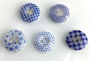 Lot 5 Antique Blue China Calico Buttons Old Variety Patterns