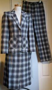 VTG Pendleton Sz 10 100% Virgin Wool Blue Plaid Pant Skirt Suit Blazer Coat 3 Pc