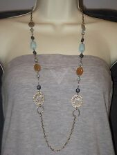 "Amazonite & Carnelian -Rv $78 Lovely Lia Sophia Epic Necklace 40"" - Genuine"
