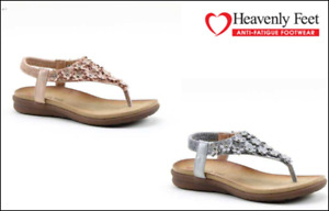 HEAVENLY FEET ANNA LADIES TOE POST  SUMMER SANDAL WITH BACK STRAP COMFORTABLE