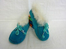 infants unisex vintage blue suede moccasins with real fur tops in size 4 ODD
