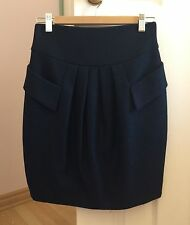 Cue Luxury Wool/Poly black bubble mini skirt with blue polkadot weave Womens 6