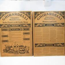Vintage Ghirardelli Chocolate Manufactory Soda Fountain & Candy Shop Menu Board