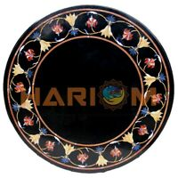 "24"" Round Marble Coffee Table Top Carnelian Lapis Floral Inlay Patio Decors B603"