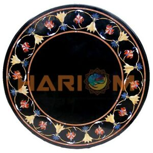"""24"""" Round Marble Coffee Table Top Carnelian Lapis Floral Inlay Patio Decors B603"""