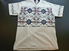 VINTAGE Aztec/Navajo Print RARE T-Shirt XL Beige USA Single Stitch Tshirt Cotton