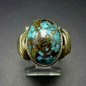 Lovely 14 Karat GOLD and Oval Domed Cabochon of CANDELARIA TURQUOISE RING size 6