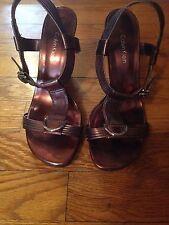 """Calvin Klein """"Aliza"""" Copper/Brown Strappy Sandals Size 6.5M"""