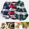 Pet Dog Puppy Plaid T Shirt Lapel Coat Cat Jacket Clothes Apparel Tops Size XS-L