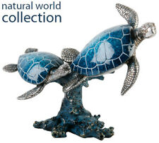 Natural World Collection Polished Stone Effect 2 Turtles Swimming Gift Ornament