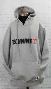 New Technine OG Logo Pullover Hoodie Light Gray Mens XXL 2XL