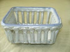 Vintage Glazed POTTERY MICHAEL COHEN square BASKET Bowl gray blue Pre 1997