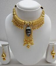 Choker Necklace Earring Set Gold Tone India Fashion Jewelry Bellydance Bollywood