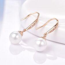 Mystic Bling White Rhinestone Crystal Women Gold Filled Dangle Pearl Earrings