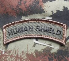 HUMAN SHIELD ARMY TAB ROCKER TACTICAL MORALE FOREST VELCRO® BRAND FASTENER PATCH