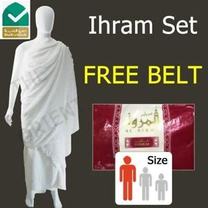 Adult Towel Ihram Al Marwa Premium Cotton Cloth Hajj Umrah Ehram + Free Belt