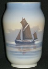 VINTAGE ROYAL COPENHAGEN PORCELAIN VASE SAILING SHIP at SEA SEAGULL REVERSE