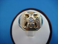 VINTAGE HANDMADE MASONIC RING 14K YELLOW GOLD WITH DIAMOND, 9.6 GRAMS, SIZE 6.25
