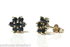 9ct Gold Sapphire cluster stud Earrings Gift Boxed studs Made in UK