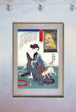 Lady Washing and Cat 15x22 Japanese Print by Kuniyoshi Asian Art Japan