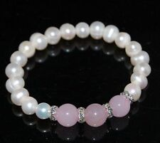 GORGEOUS GENUINE WHITE FRESHWATER PEARL AND PINK AGATE CRYSTAL SPACER BRACELET