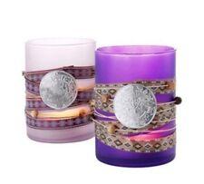 Windlichter Glas satiniert lila und flieder - 2er Set - Teelichthalter verziert