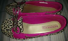 Kids Girls Sperry Audrey Leopard Pink Youth Size 3.5 M Slip On Shoes Euc