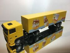 LION CAR DAF 95 XF 480 TRUCK + TRAILER - ZONNATURA - YELLOW 1:50 - EXCELLENT