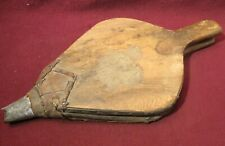 """Vintage Bellows Fireplace Hand Air Pump- Wood Leather 18-1/4"""" Wall Hanger"""