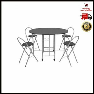 Five Piece Folding Dining Set MDF Black Table And Chairs Furniture