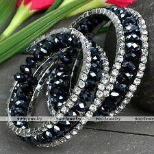 Schwarz Hematit Glas facette klar Kristall Perlen Armband spiral Armkette