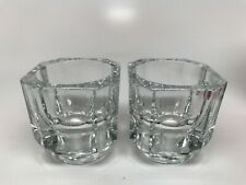 "New ListingBormioli / Covetro ""Luxor"" Set of 2 Heavy Square Taper Candle Holders Glass"