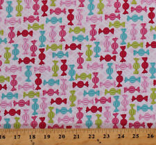Candy Wrapped Hard Candies Sweets on Pink Cotton Fabric Print by Yard D694.40