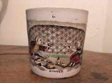 "Rare Antique English Child's Transferware Mug ""Dinner"""