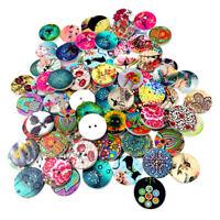 100pcs Beautiful 2Hole 20mm Mixed Wooden Button Sewing Scrapbooking DIY Craft