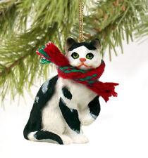 Black White Shorthair Tabby Cat Christmas Ornament Holiday Figurine kitten gift