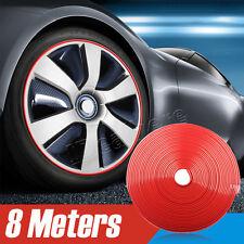 Red Car Wheel Hub Rim Edge Protector Ring Tire Guard Sticker Rubber Strip New