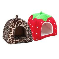 Weich Erdbeere Haustier Hund Katze Haus Hundehütte Hund Modisch Kissen Korb #R
