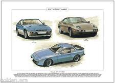 PORSCHE 924/944/928 - Lámina Artística - A3 Tamaño - MOTOR DELANTERO Alemania