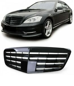 Sport Radiator Grille black gloss for Mercedes S Class W221 without distronic