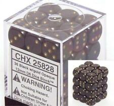 Chessex Dice d6 Sets Opaque Black with Gold 36 12mm Six Sided Die CHX 25828