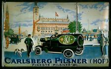 Blechschild Carlsberg Pilsner Hof Auto mit Flasche nostalgisches Bier Werbeschil