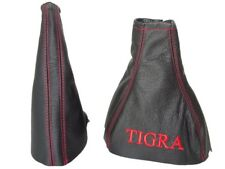 "Gear & Handbrake Boot For Holden Tigra B 2004-2009 Leather ""TIGRA"" Red Logo"