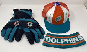 Vintage 90s Miami Dolphins NFL Hat Headband Winter Gloves Lot of 3 Football VTG