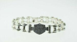 "Harley Davidson Sterling Silver Men's Bike Chain Bracelet 8.5"""