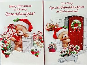 GRANDDAUGHTER CHRISTMAS CARD  ~ CHOICE OF 2 CUTE DESIGNS ~ QUALITY CARDS