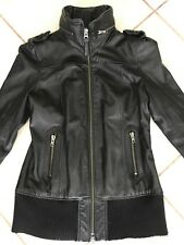 Mackage Elie Lamb Leather Jacket Coat Womens Sz Large Black Biker Motorcycle Zip