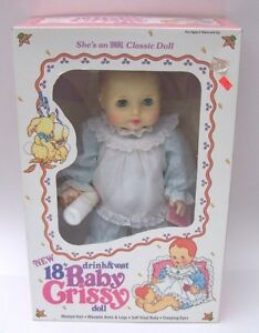 "Baby Crissy 18"" Ideal 1984 Doll w/Bottle Drinks and Wets NIB"